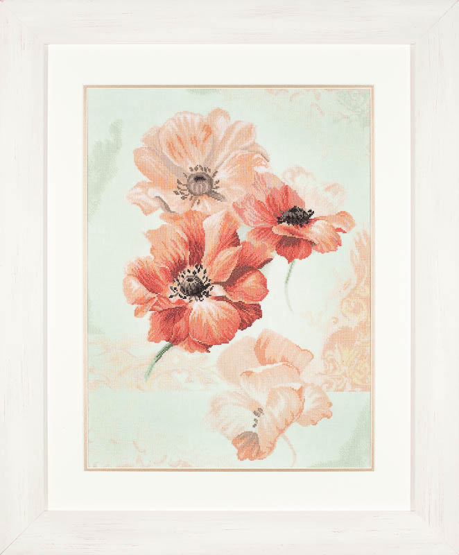 Lanarte Counted Cross Stitch Kit: Sky Anemone (Linen)