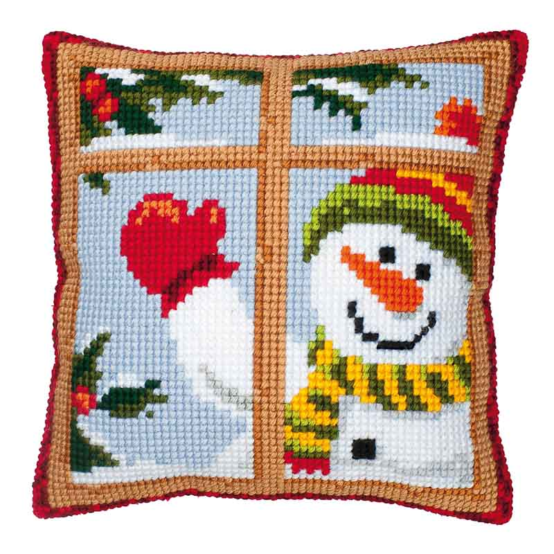 Vervaco Cross Stitch Cushion Kit: Snowman Seasonal CSCK
