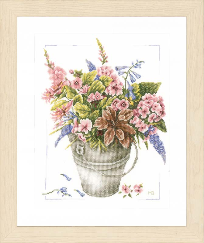 Lanarte Counted Cross Stitch Kit: Bouquet of Flowers in Bucket