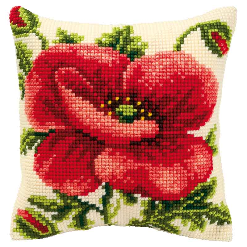 Vervaco Cross Stitch Cushion Kit: Oriental Poppy Flowers & Nature CSCK