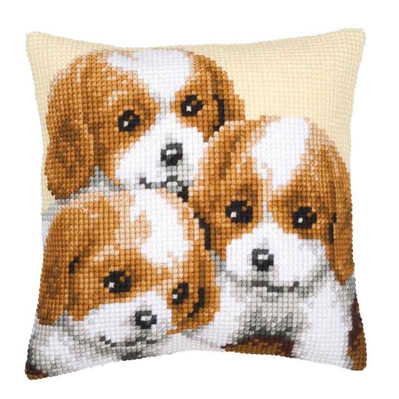 Vervaco Cross Stitch Cushion Kit: Puppies Cats & Dogs CSCK