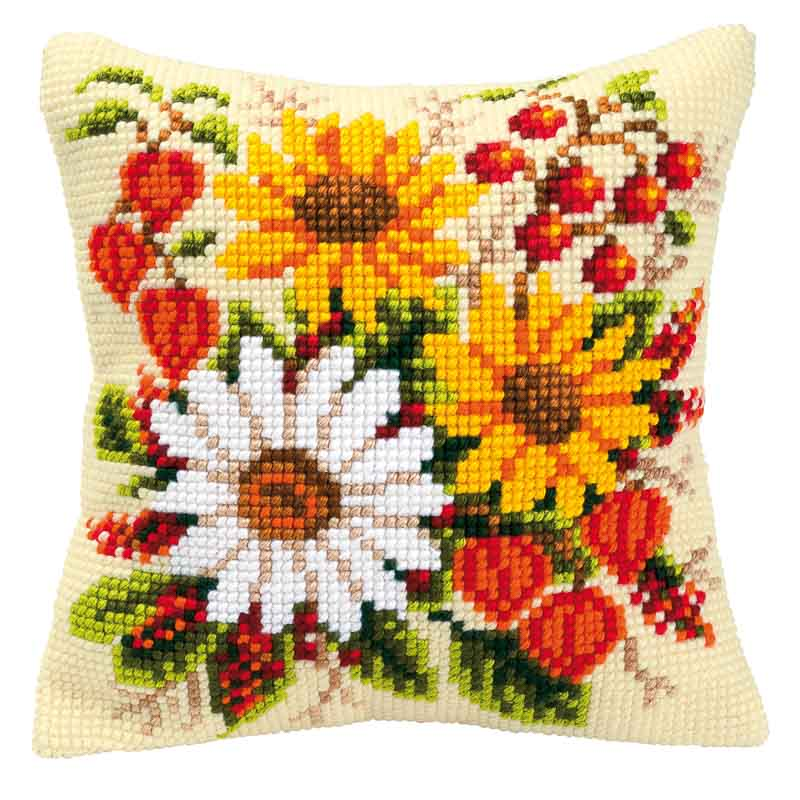 Vervaco Cross Stitch Cushion Kit: Mixed Flowers
