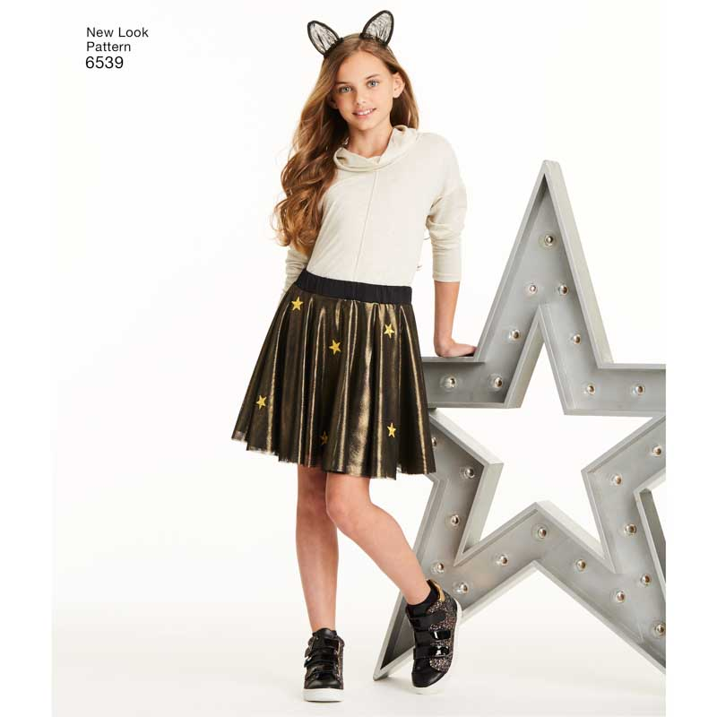 1c24f32f89 New Look UN6539A | Tween Skirts with Ears Headband | Size A (8-10-12-14-16)  | Sewing Pattern
