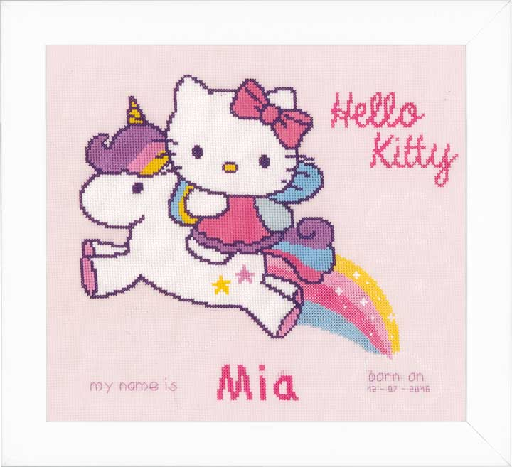 Counted Cross Stitch: Birth Record: Kitty and Unicorn Birth Records CSK