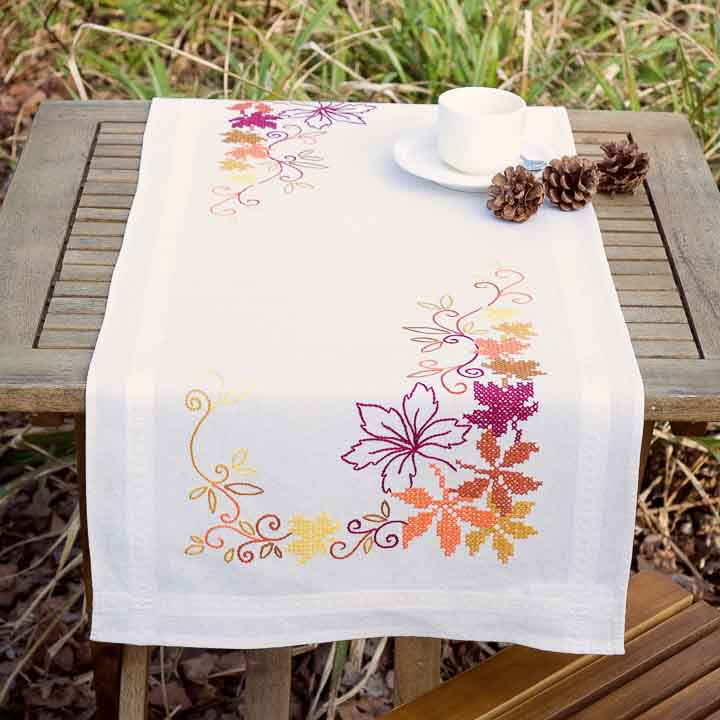 Vervaco Embroidery Kit: Runner: Leaves Runners and Tablecloth