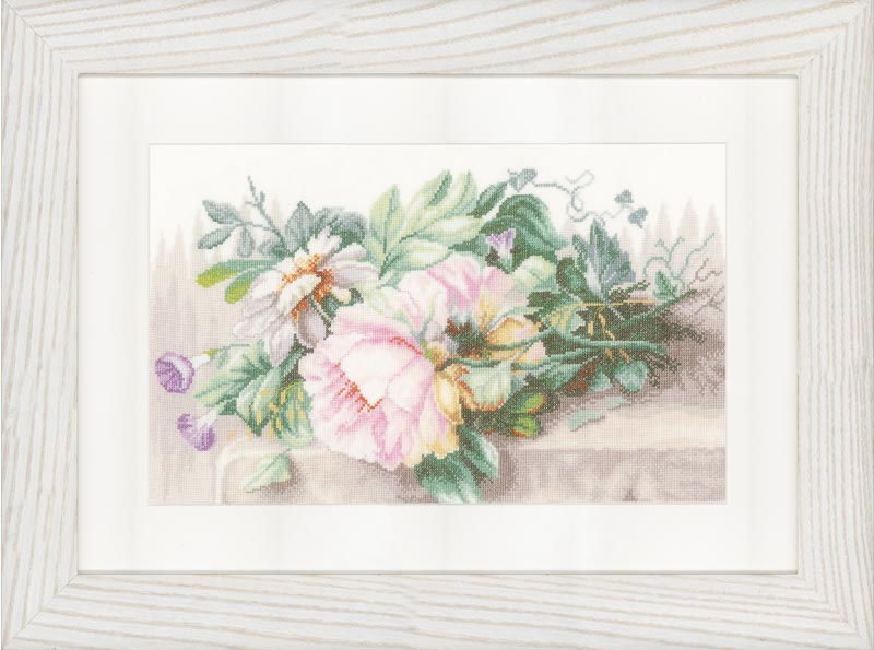 Lanarte Counted Cross Stitch Kit: Still Life with Peonies (Linen)