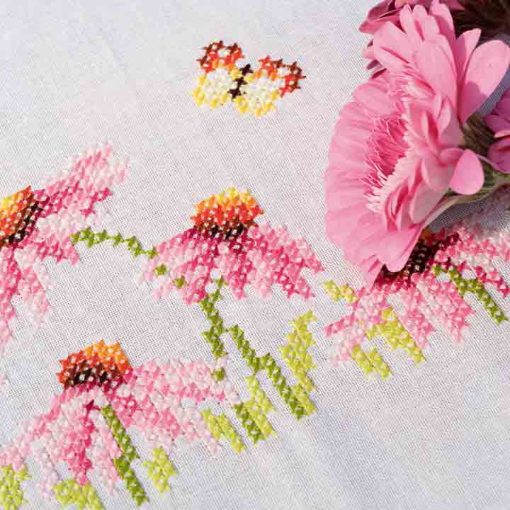 Vervaco Embroidery Kit: Tablecloth: Echinacea and Butterfly