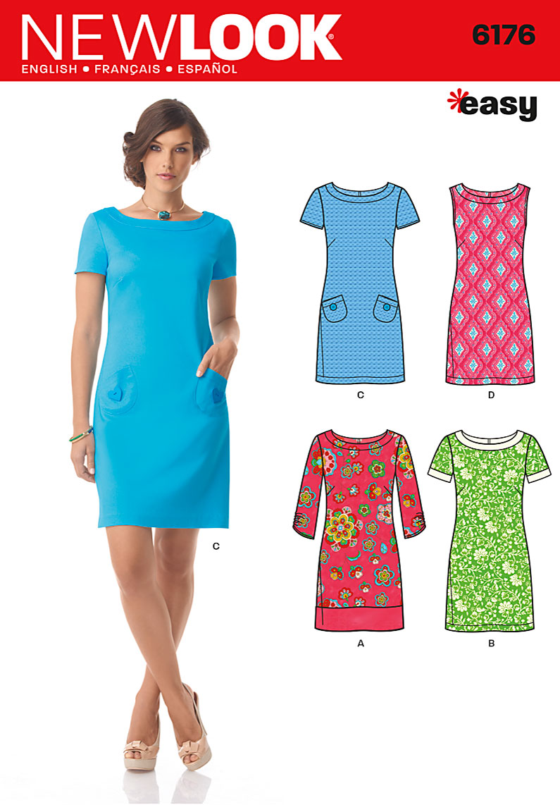 New Look U06176A | Misses Dress with Sleeve Variations | Size A (8-10-12-14-16-18) | Sewing Pattern