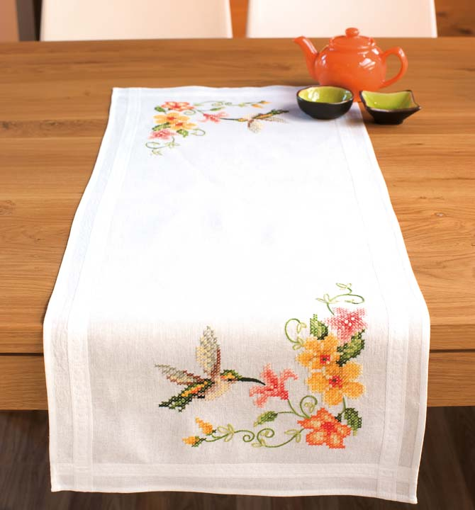 Vervaco Embroidery Kit: Runner: Hummingbird Runners and Tablecloth
