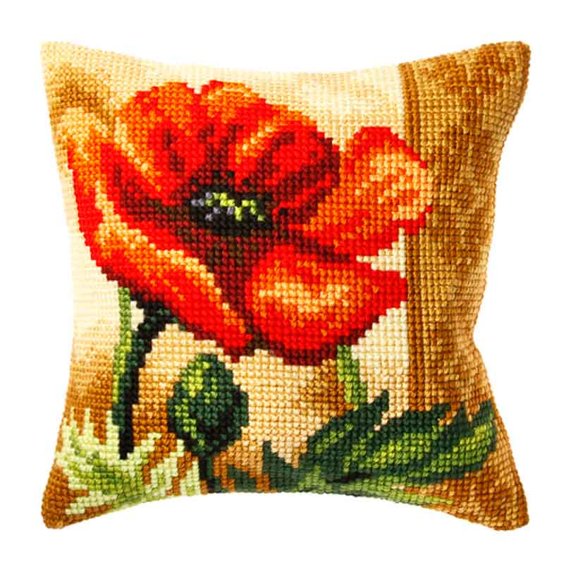 Orchidea Cross Stitch Kit: Cushion: Large: Poppy Flowers & Nature CSCK