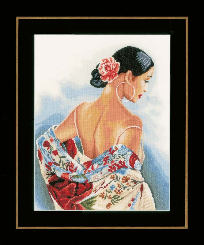 Lanarte Counted Cross Stitch Kit: Flower Scarf: (Evenweave)