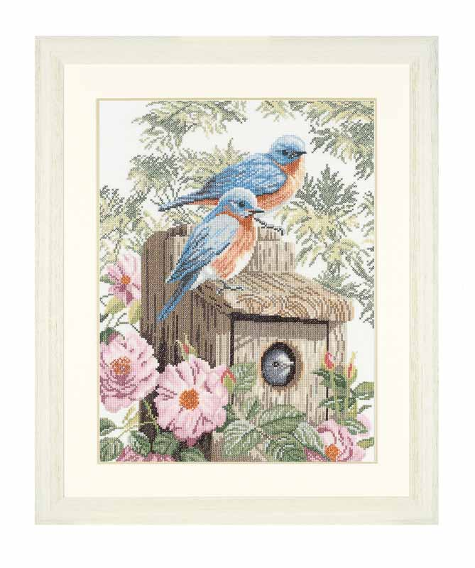 Lanarte Counted Cross Stitch Kit: Garden Bluebirds (Aida,W)