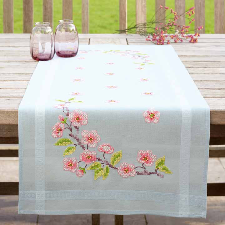 Vervaco Embroidery Kit: Runner: Apple Blossom Runners and Tablecloth