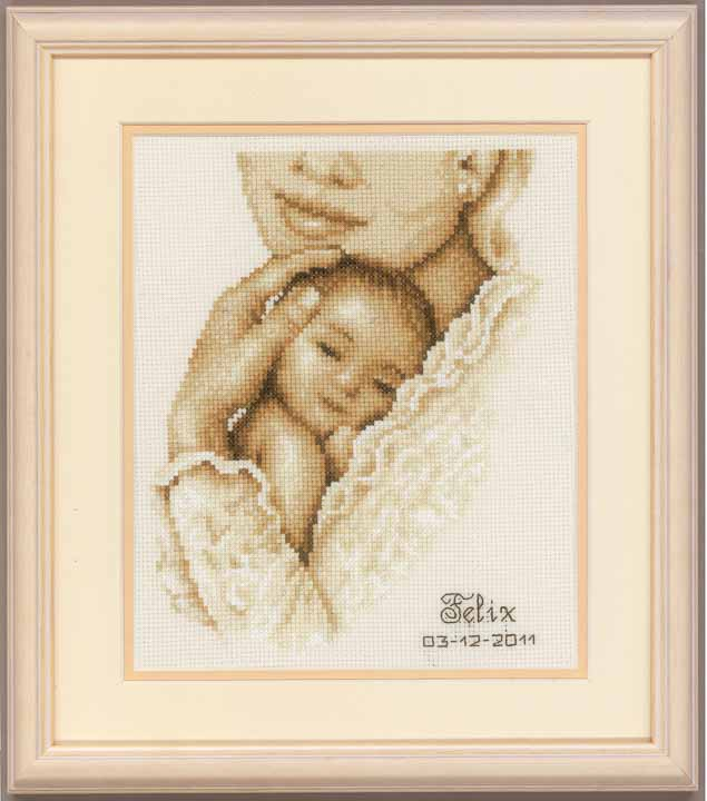 Counted Cross Stitch Kit: Birth Record: Tender Moment Birth Records CSK