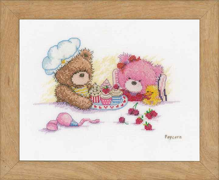 Counted Cross Stitch Kit: Popcorn & Brie Bear