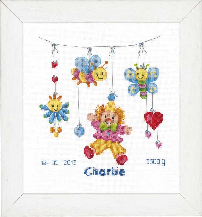 Counted Cross Stitch Kit: Birth Record: Clown Delight