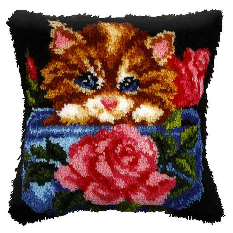 Orchidea Latch Hook Kit: Cushion: Large: Floral Cat Latch Hook Cushion Kit