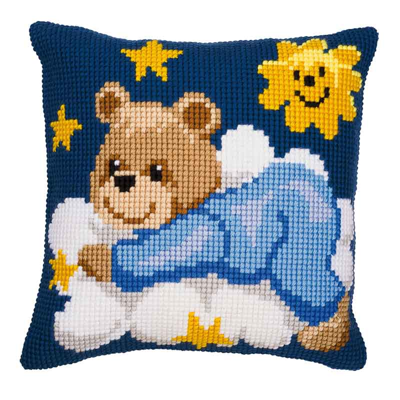Vervaco Cross Stitch Cushion Kit: Blue Teddy