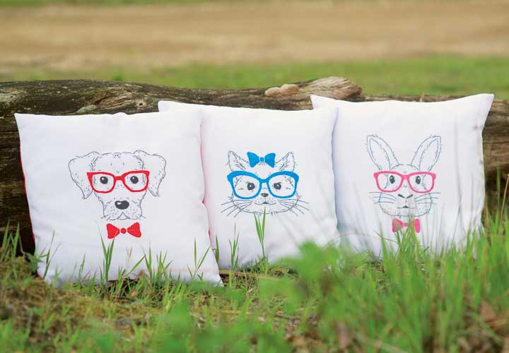 Vervaco Embroidery Kit: Cushion: Dog with Red Glasses Cushion