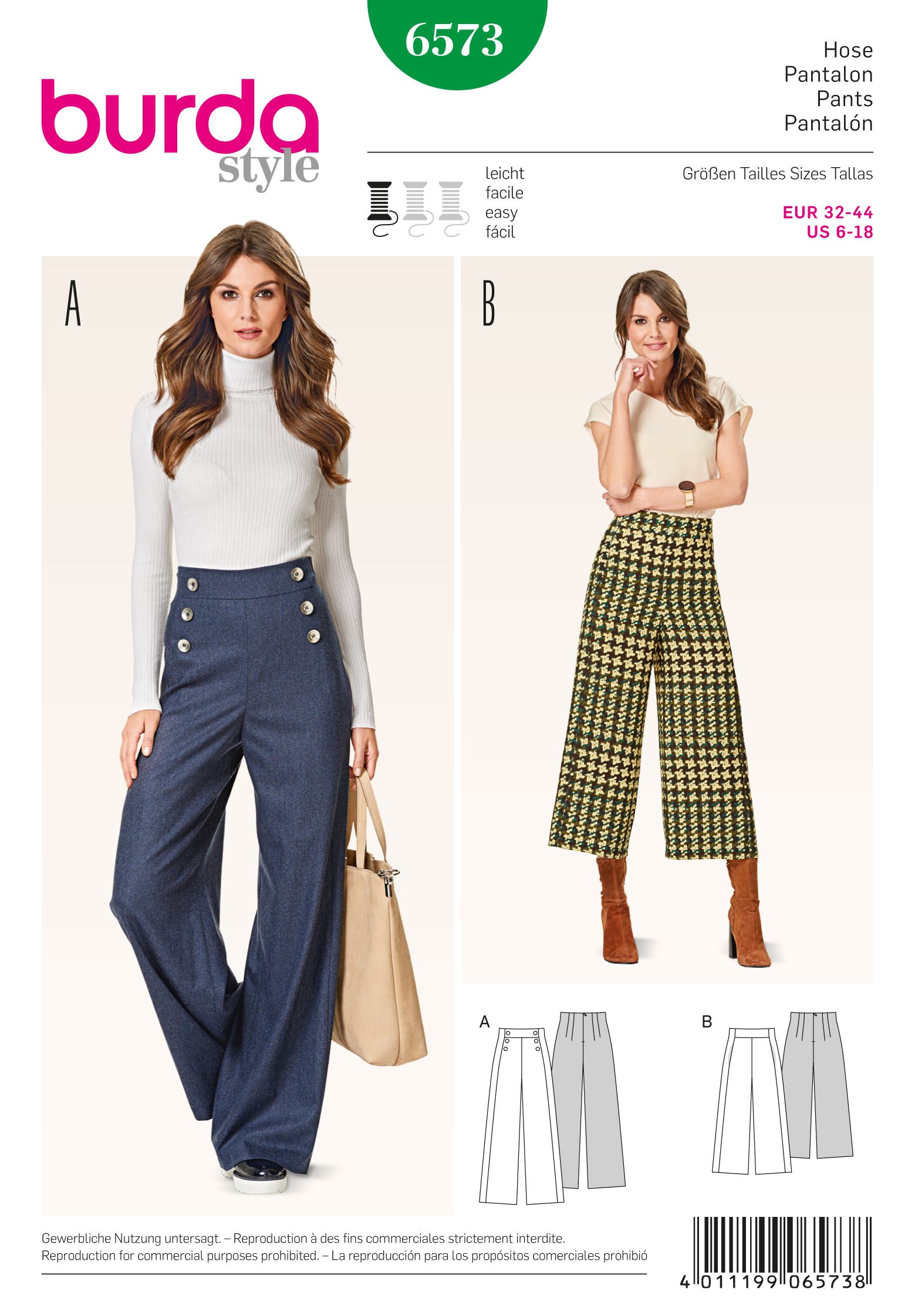 Burda X06573BURDA | Style Pattern Trousers size (6-18) | Sewing Pattern