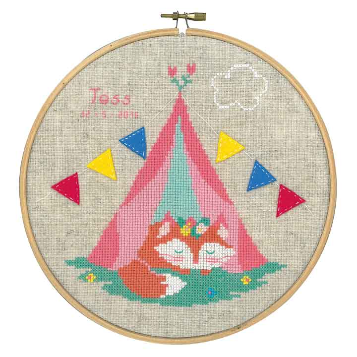 Counted Cross Stitch Kit: Lief! Small Fox in Tent Animals & Birds CSK