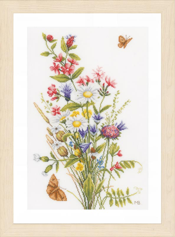 Lanarte Counted Cross Stitch Kit: Field Flowers (Evenweave)