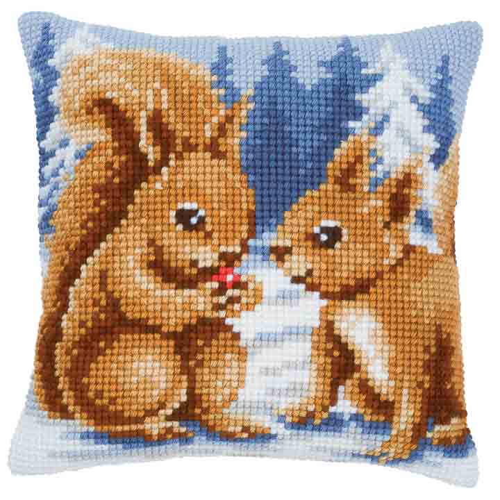 Vervaco Cross Stitch Cushion: Squirrels Flowers & Nature CSCK