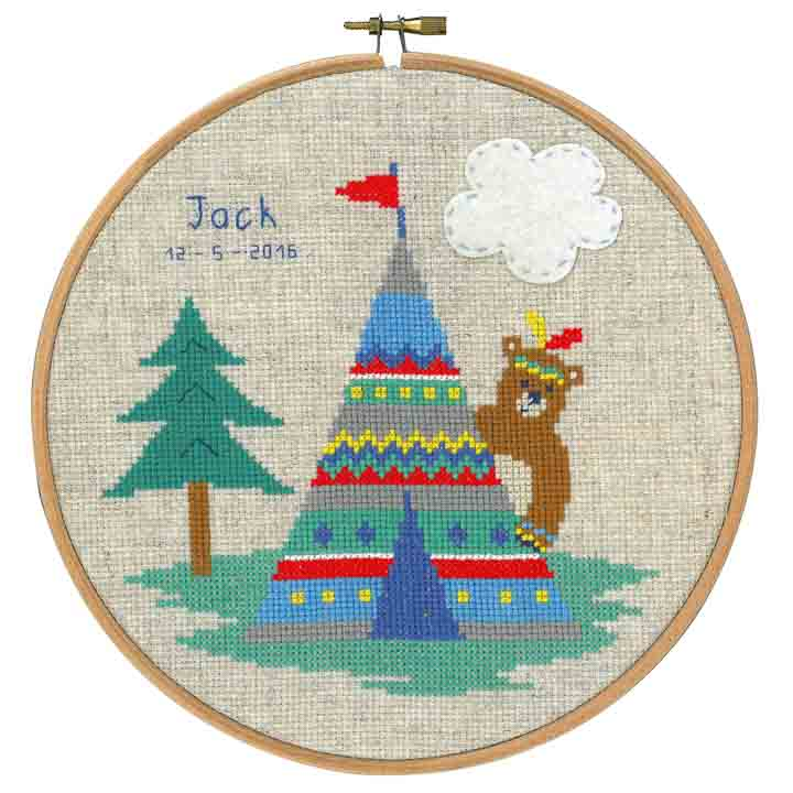 Counted Cross Stitch Birth Record: Lief! Indian Bear - Tepee Birth Records CSK
