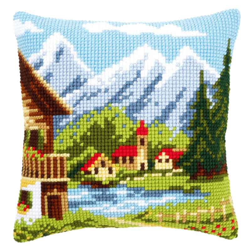 Vervaco Cross Stitch Cushion: Alpine Village I Buildings CSCK