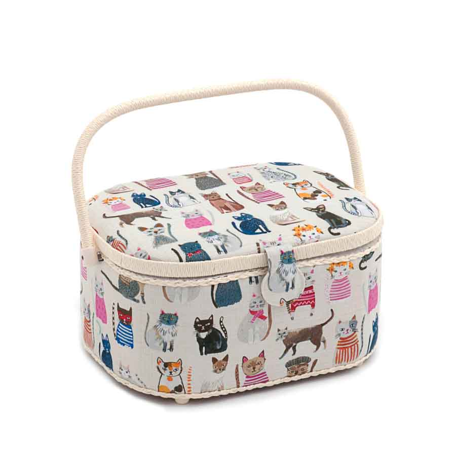 HobbyGift Sewing Box (L): Oval: Cats in Jumpers | HGLO_300