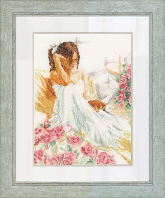Lanarte Counted Cross Stitch Kit: Moment of Reading (Line) Beauty & Love CSK