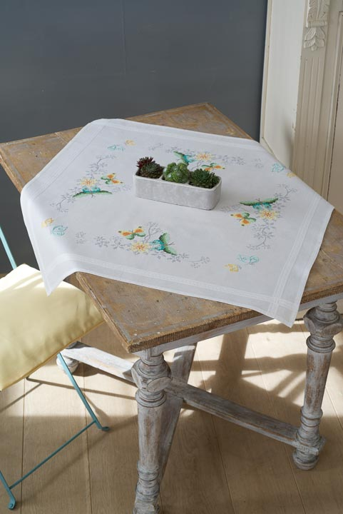 Vervaco Cross Stitch Kit: Tablecloth: Flowers & Butterflies