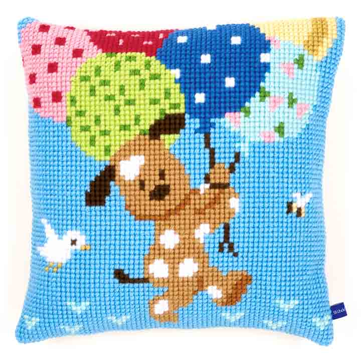 Vervaco Cross Stitch Cushion: Dog with Balloons