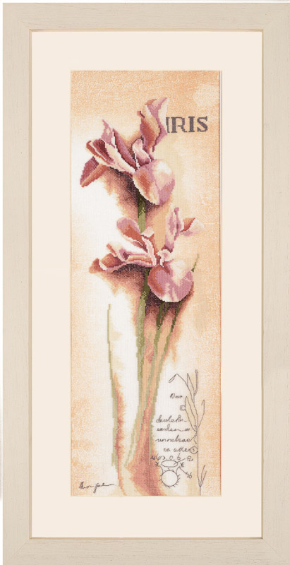 Lanarte Counted Cross Stitch Kit: Iris: Botanical (Linen)