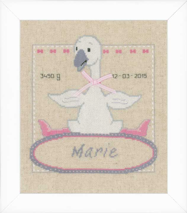 Counted Cross Stitch: Birth Record: Goose with Bow Birth Records CSK