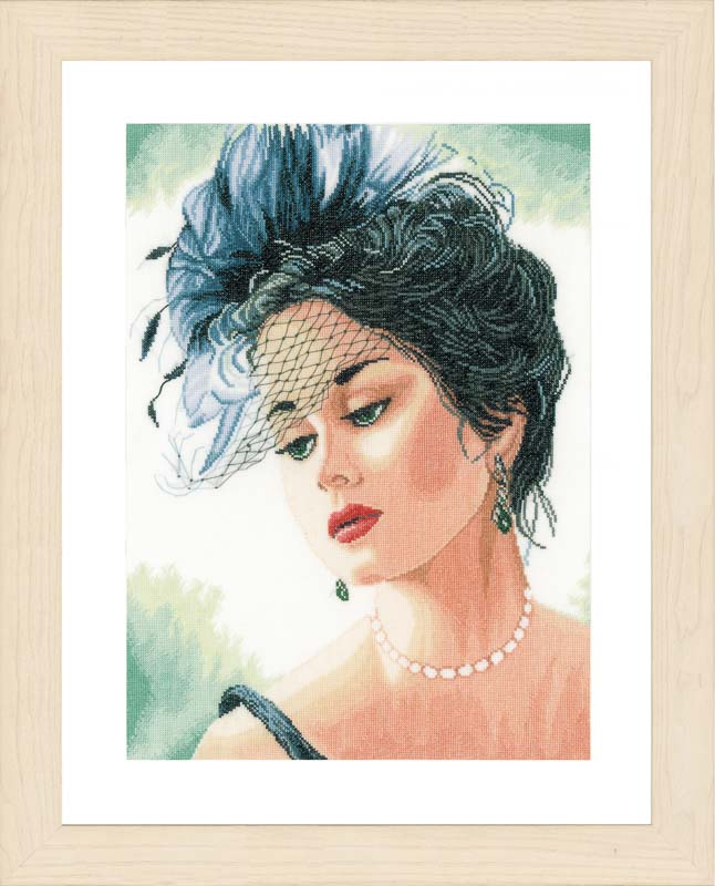 Lanarte Counted Cross Stitch Kit: Lady with Hat (Linen)