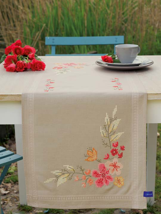 Vervaco Embroidery Kit: Runner: Pink Flowers Runners and Tablecloth