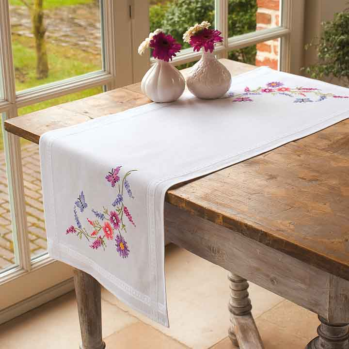 Vervaco Embroidery Kit: Runner: Colourful Flowers Runners and Tablecloth