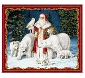 All Is Calm Winter Arctic Santa on Red Fabric Panel