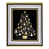All That Glitters Black Metallic Christmas Trees Fabric Panel