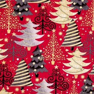 All That Glitters Metallic Christmas Trees on Red Fabric Fat Quarter