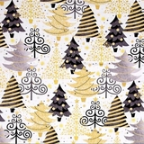 All That Glitters Metallic Christmas Trees on White Fabric