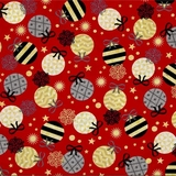 All That Glitters Metallic Ornaments on Red Fabric
