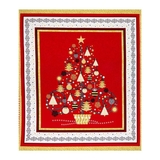All That Glitters Red Metallic Christmas Trees Fabric Panel