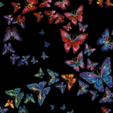 Allover Butterflies On Black Fabric