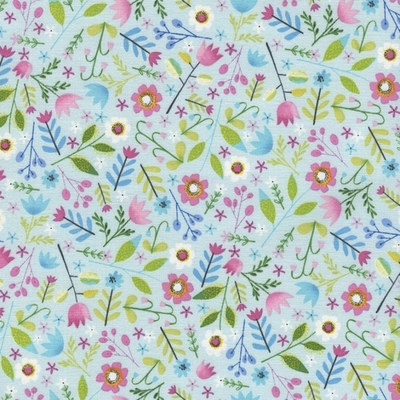 Allover Floral on Sky Blue Fabric Fat Quarter