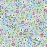 Allover Floral on Sky Blue Fabric