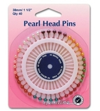 Assorted Coloured Pearl Head Pins 38mm