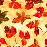Autumn Bounty Tossed Harvest Leaves on Cream Fabric