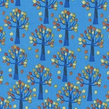 Nutty Buddies Autumn Trees in Blue Fabric
